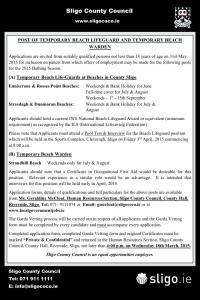 Sligo County Council recruiting for Lifeguards for summer 2015