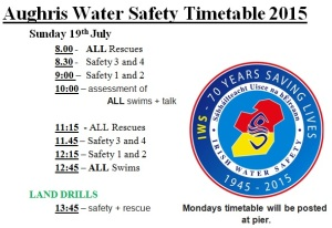 2015 Aughris Water Safety Timetable 2015